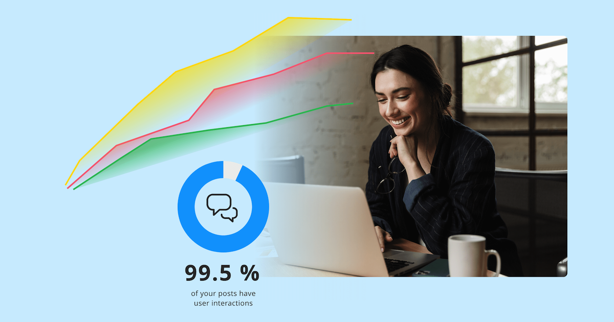 An illustration showing the kinds of analytics available in an employee communication app.